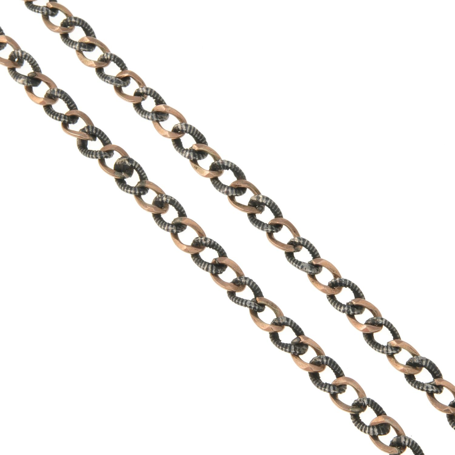 A niello curb albert chain necklace.Stamped 800.Length 39cms.