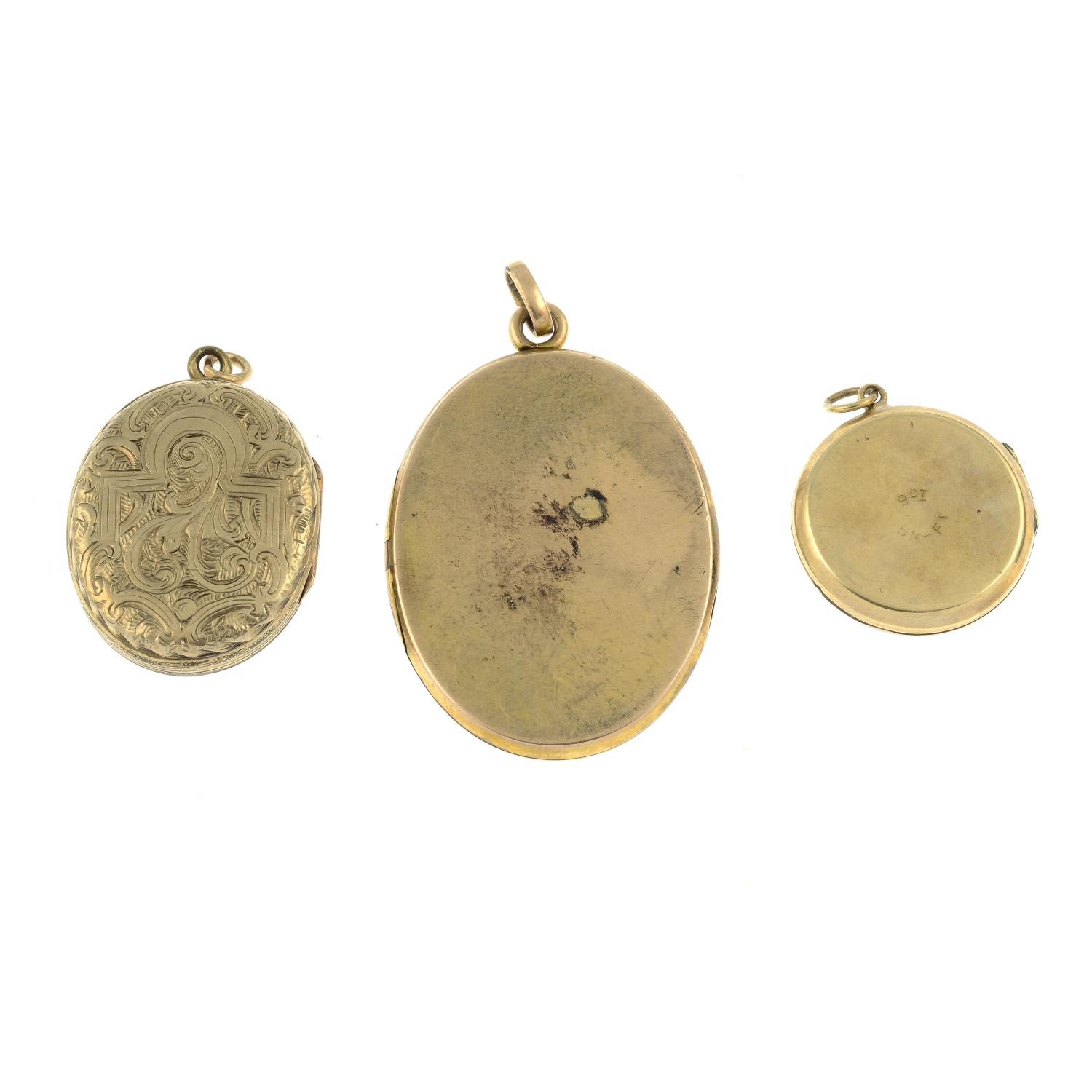Three engraved lockets.One stamped 9ct. - Image 2 of 2