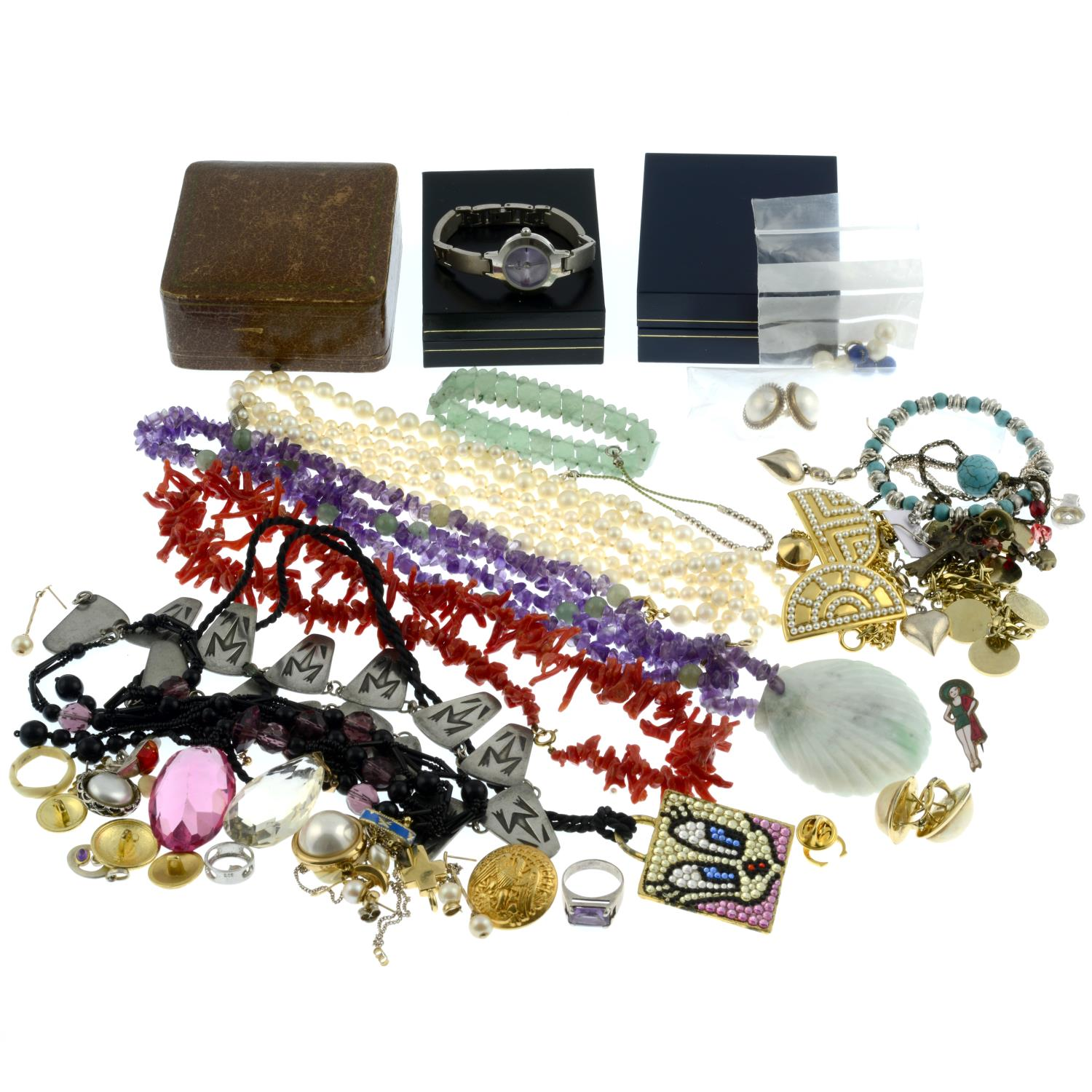 A selection of costume and gem-set jewellery, to include a cultured pearl necklace. - Image 2 of 2