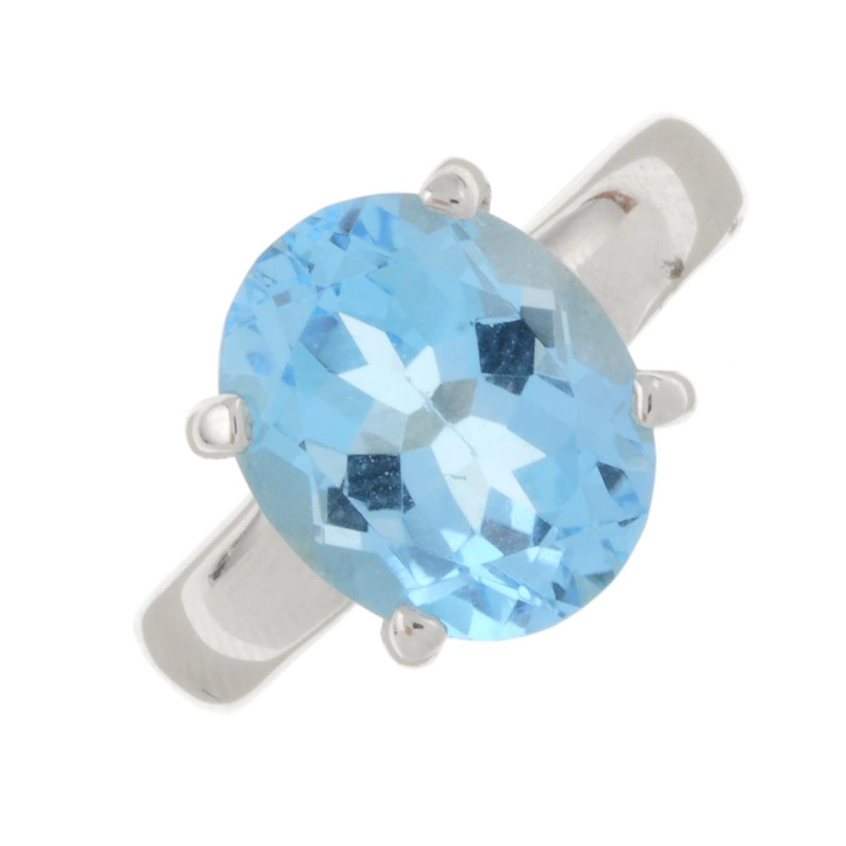 A blue topaz single-stone ring.Stamped 925.Ring size N 1/2.