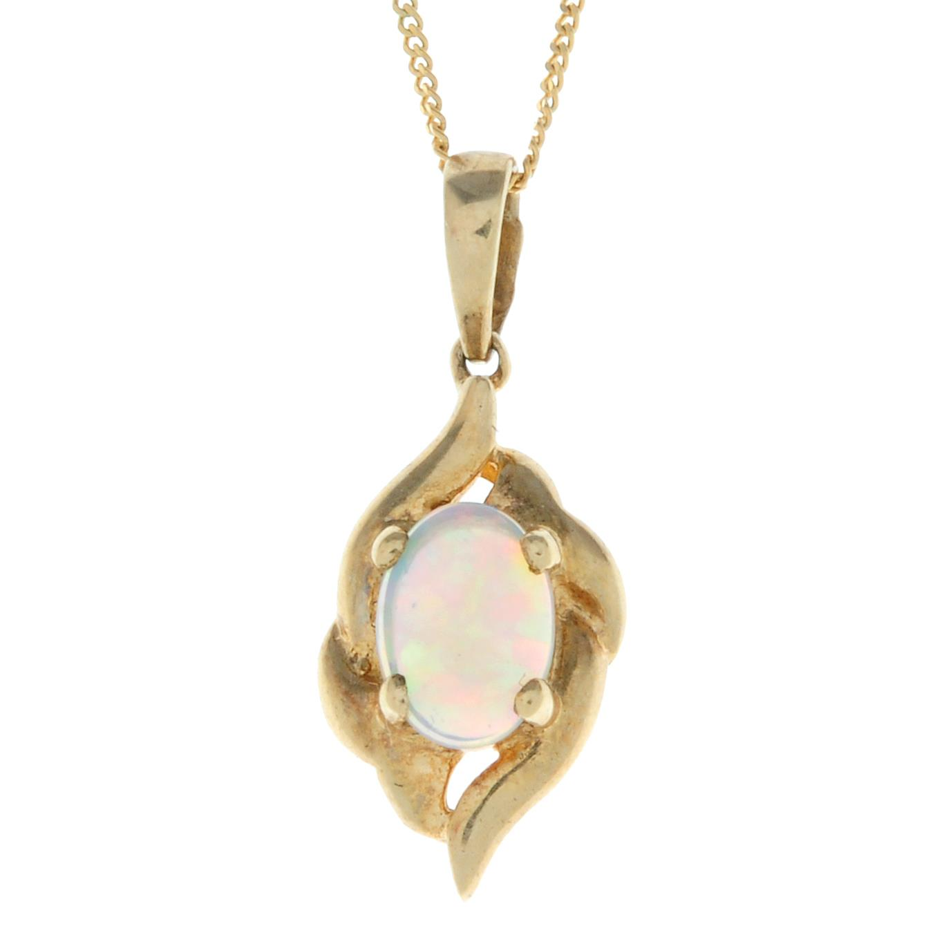 A 9ct gold opal pendant, with chain.Hallmarks for Sheffield.Length of pendant 2.1cms.