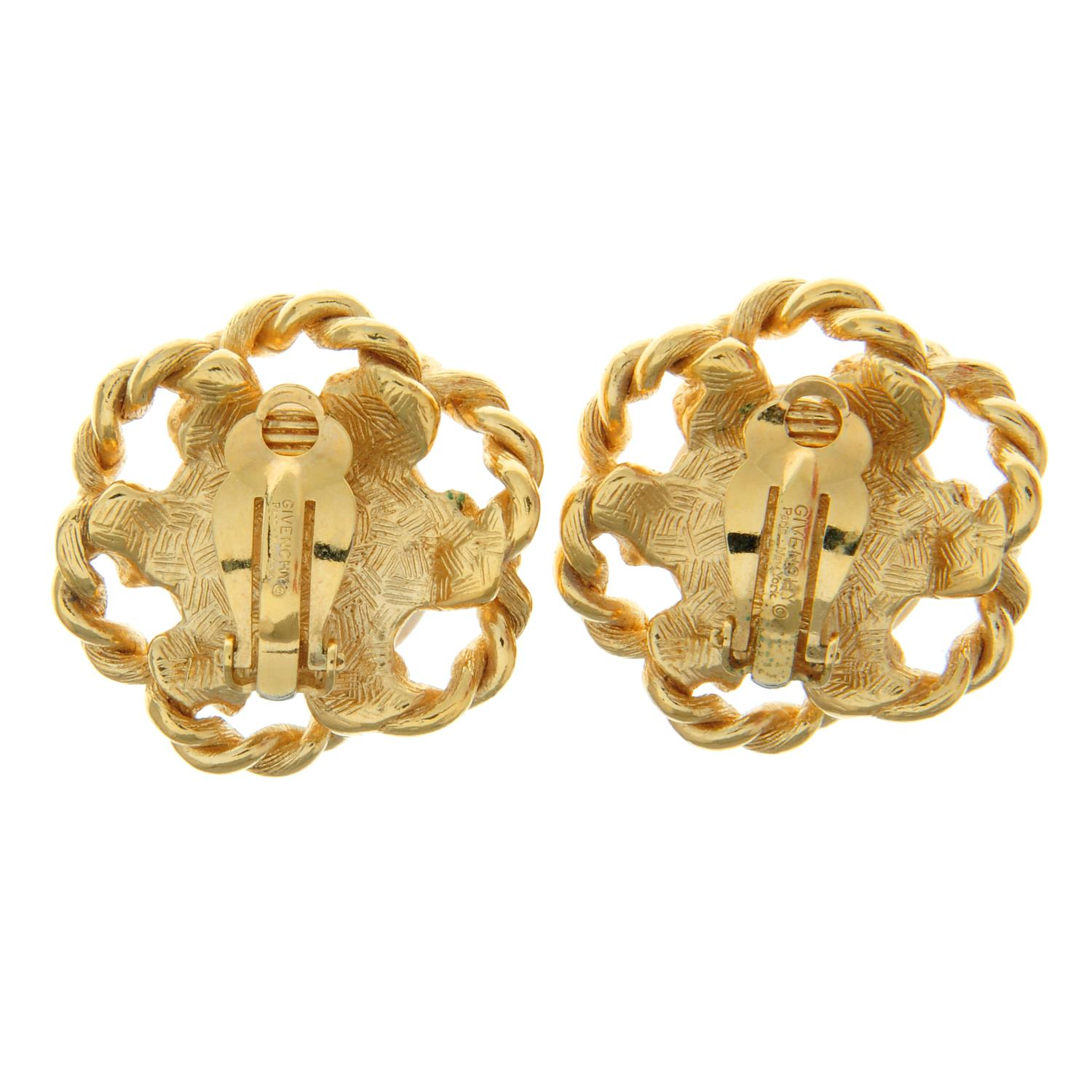 A pair of imitation pearl clip-on earrings with a rope textured floral surround, - Image 2 of 2