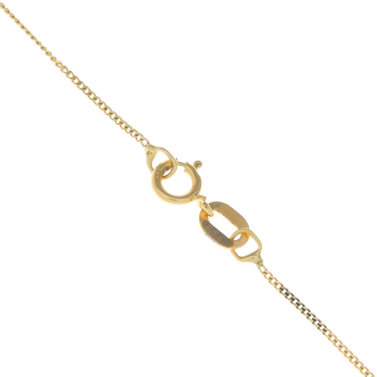 A 9ct gold opal pendant, with chain.Hallmarks for Sheffield.Length of pendant 2.1cms. - Image 3 of 3