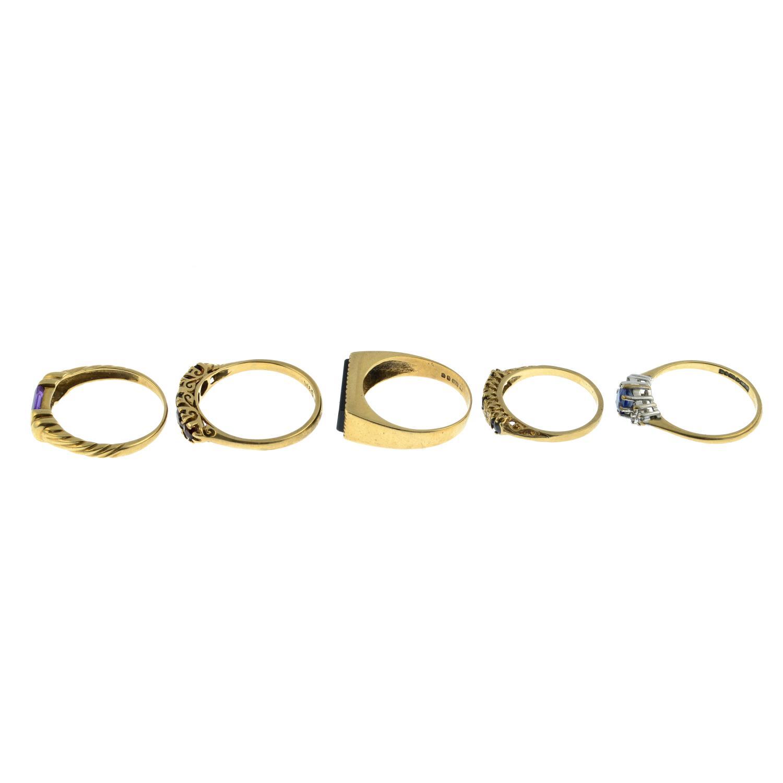 Five 9ct gold gem-set rings, - Image 2 of 3