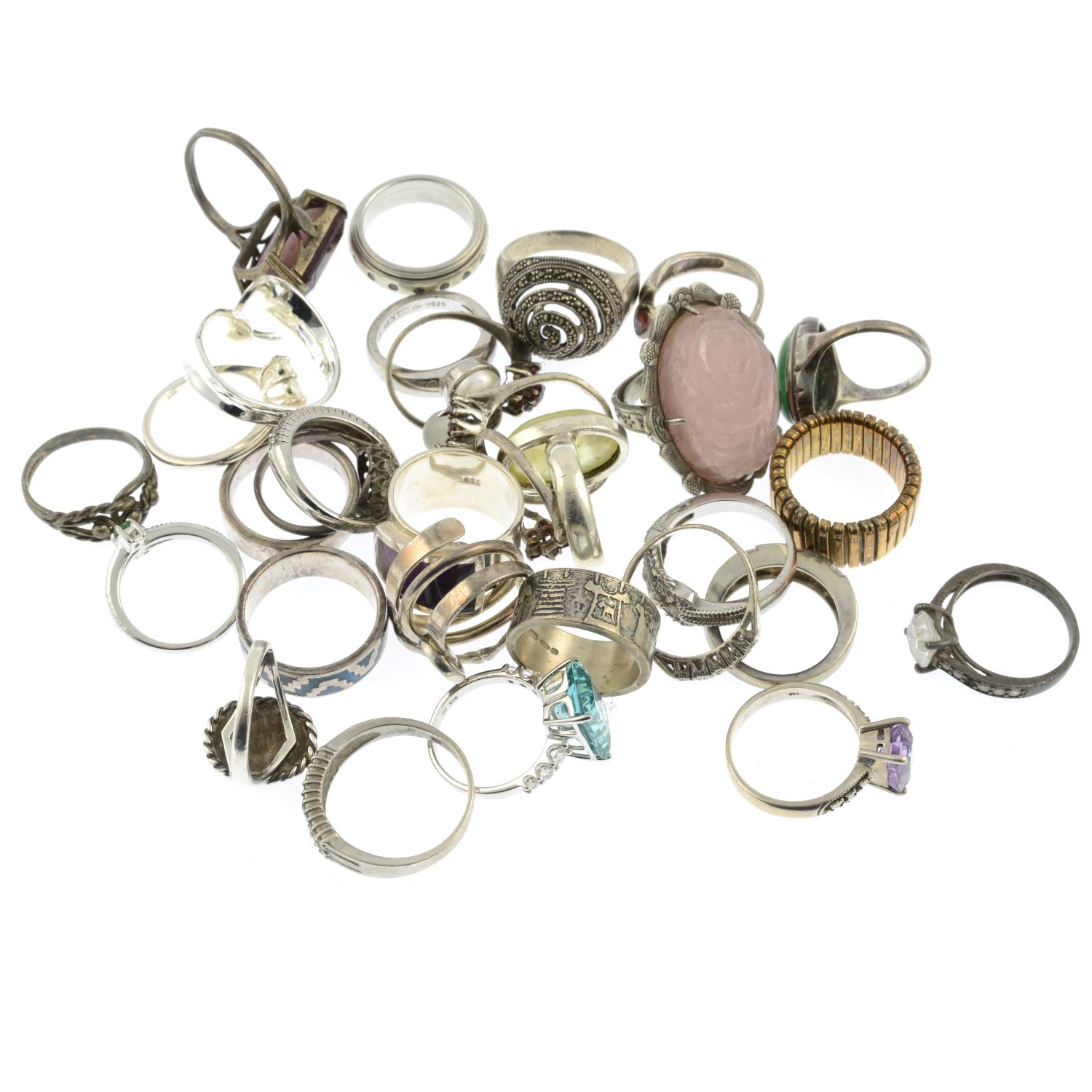 A selection of mainly gem-set rings, to include a carved rose quartz ring. - Image 2 of 2