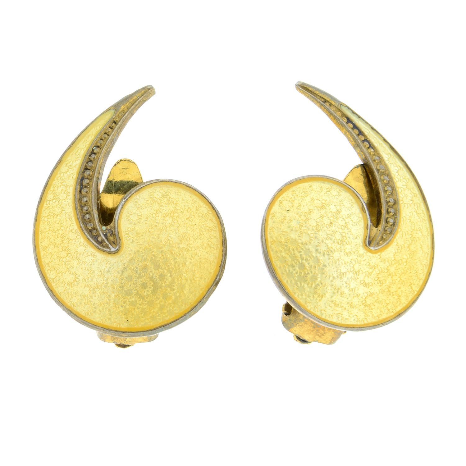 A selection of jewellery to include a pair of enamel earrings,