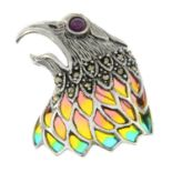 A ruby and marcasite, plique-a-jour enamel brooch of a hawk head.May be worn as a pendant.