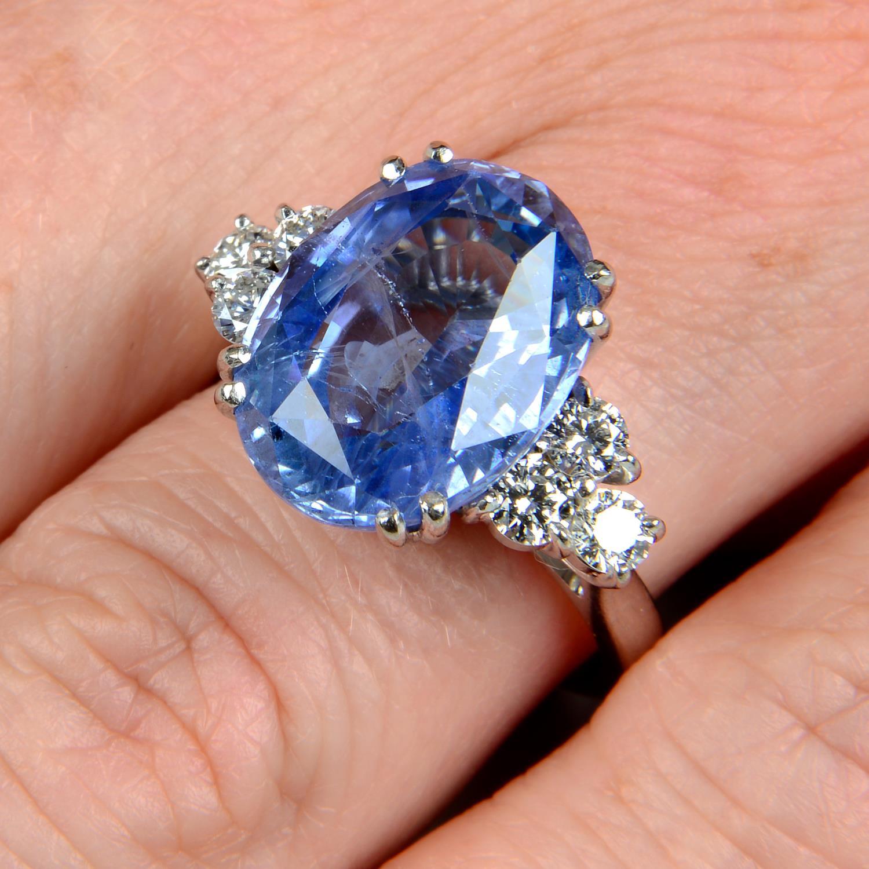 A Sri Lankan sapphire and diamond ring.