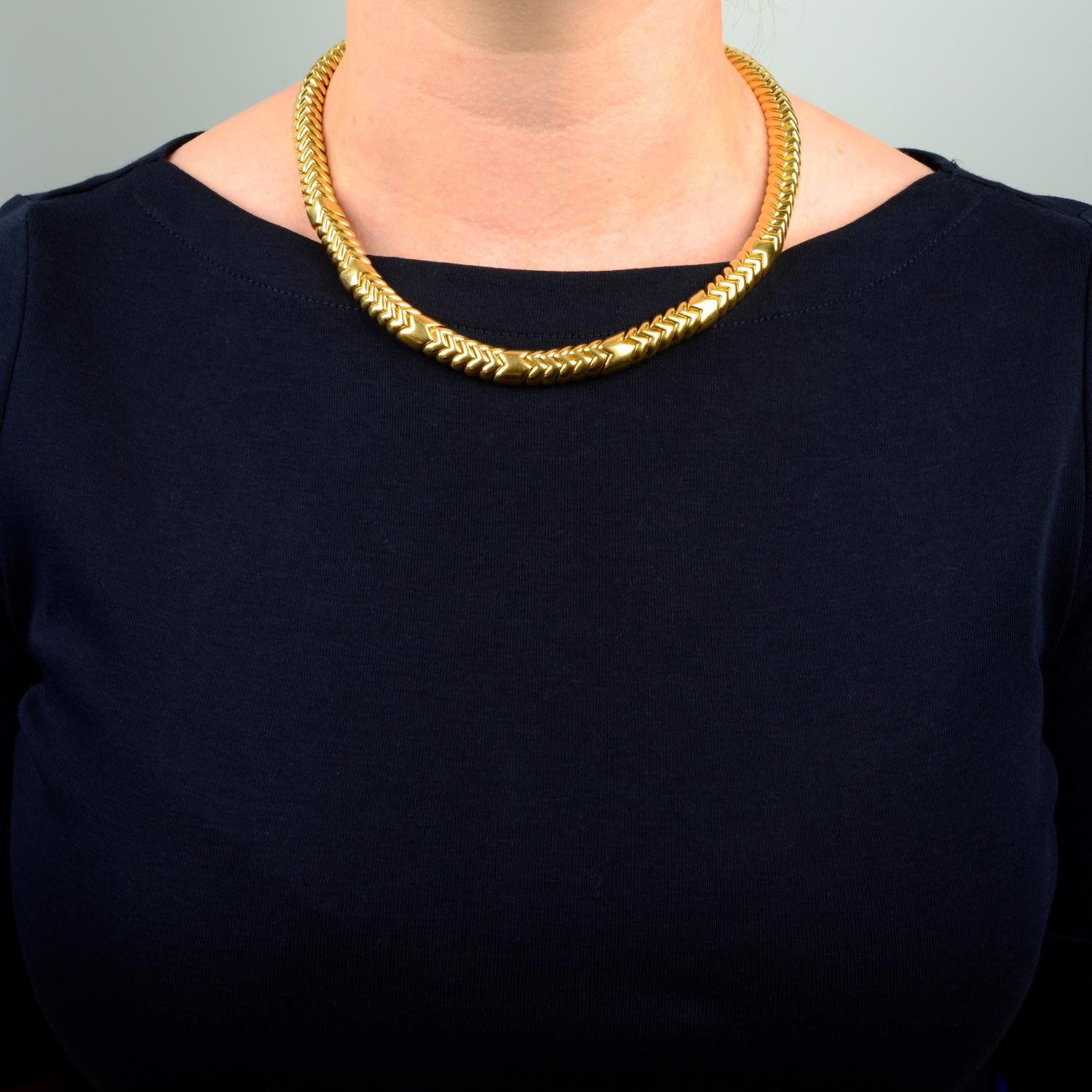 An 18ct gold 'Spiga' necklace, by Bulgari. - Image 3 of 6