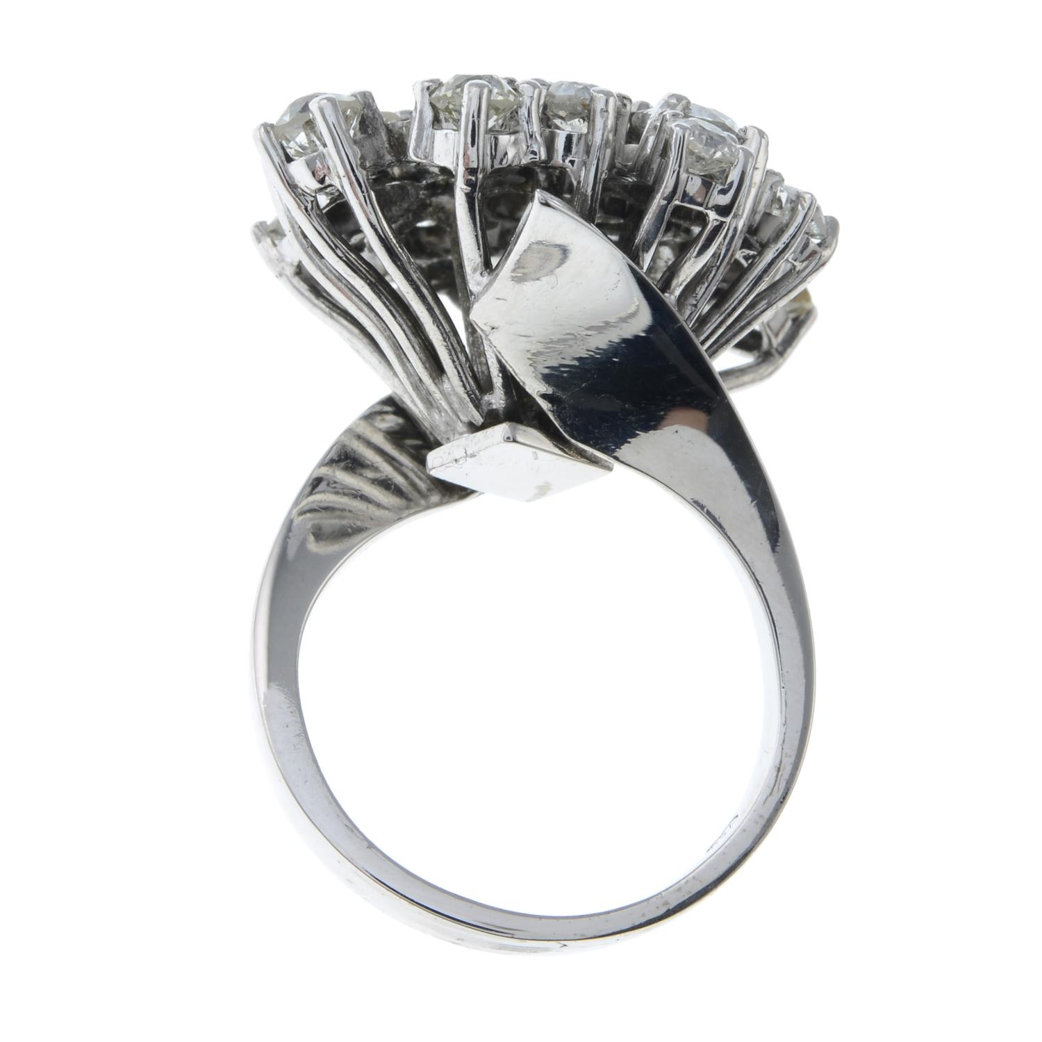 A mid 20th century 18ct gold old-cut diamond cocktail ring.Estimated total diamond weight 4 to - Image 6 of 6