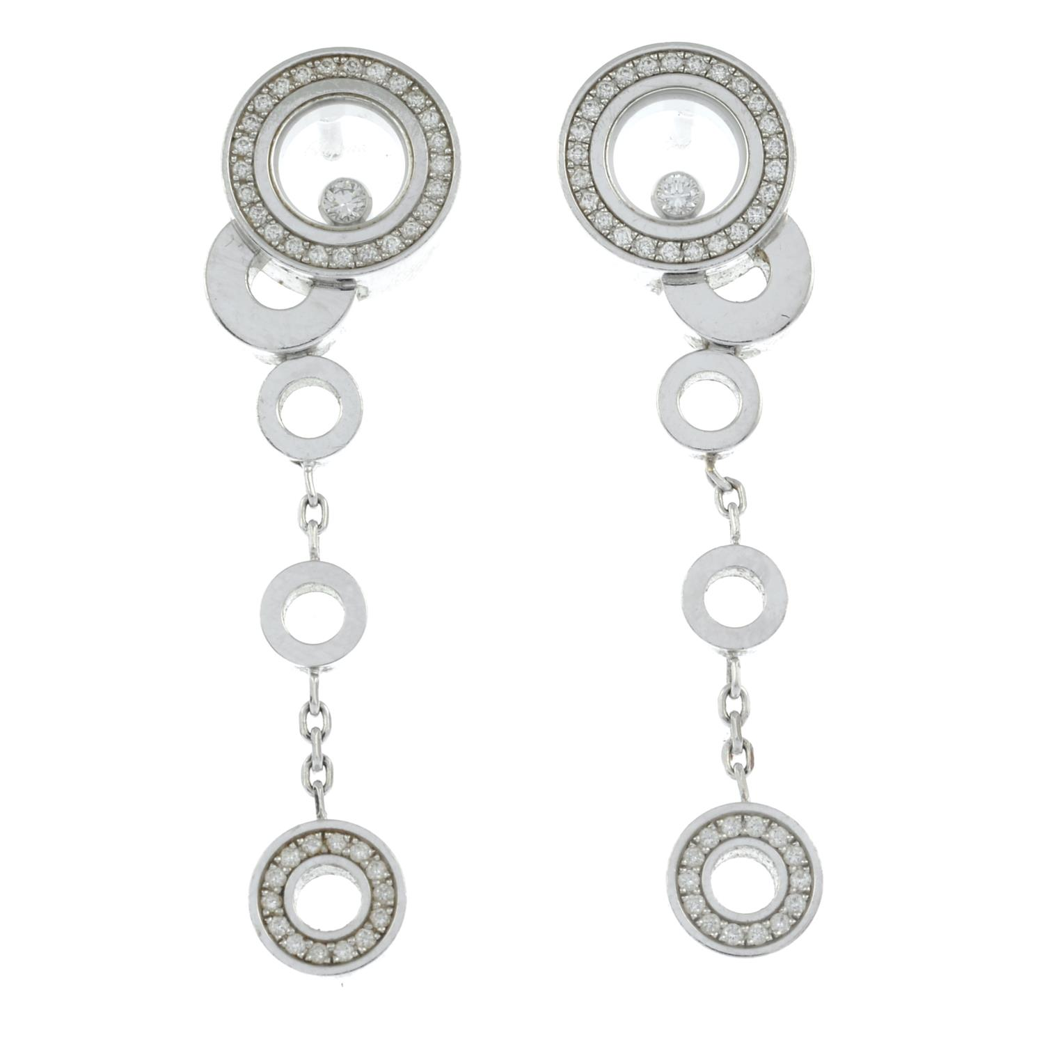 A pair of 18ct gold diamond 'Happy Bubbles' earrings, by Chopard. - Image 2 of 3