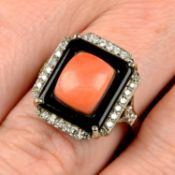 A coral, onyx and diamond dress ring.Estimated total diamond weight 0.20ct,