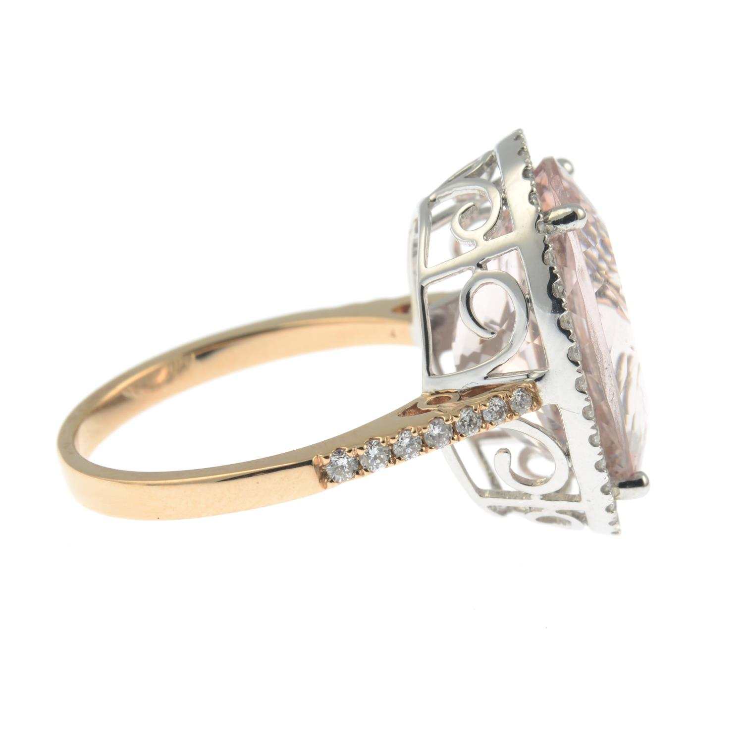 An 18ct gold morganite and diamond cluster ring. - Image 6 of 7