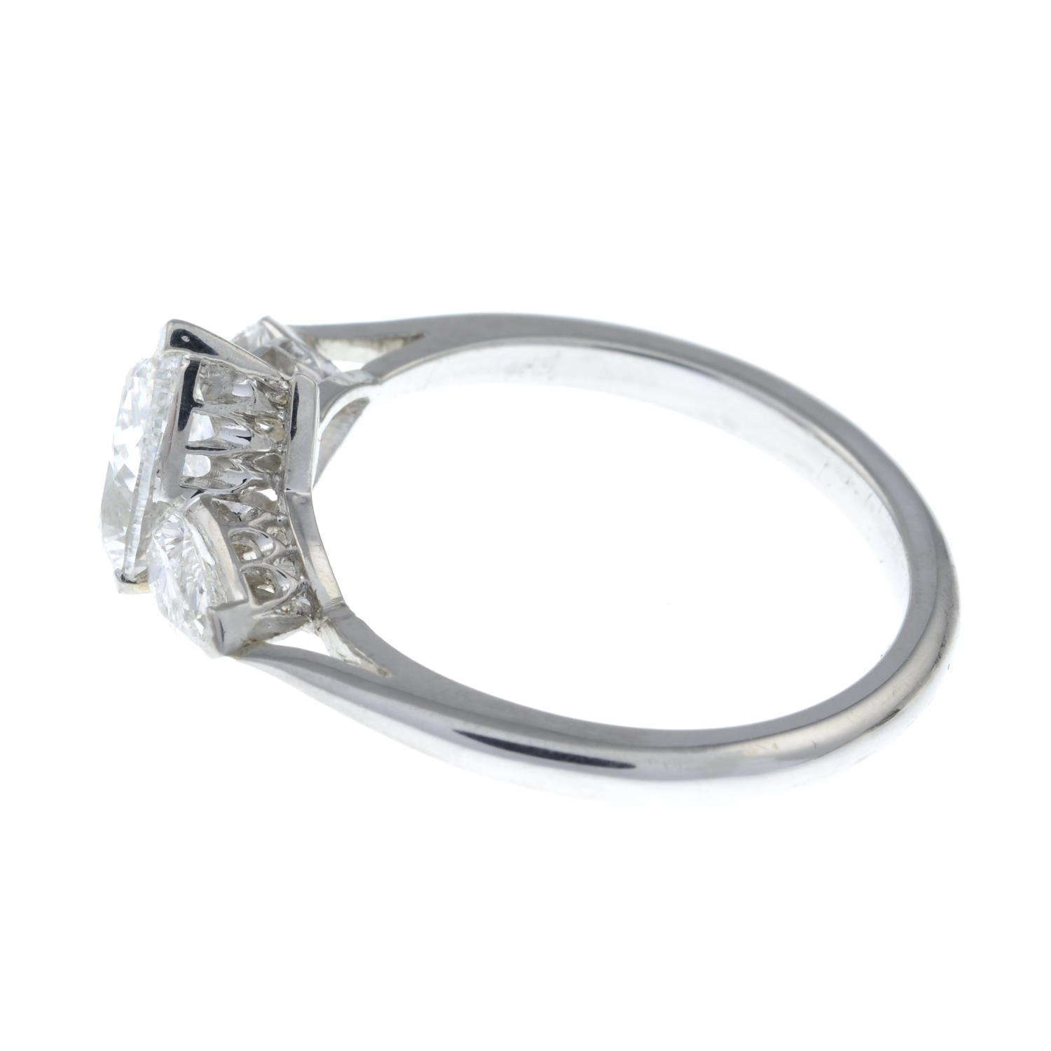 A pear-shape diamond three-stone ring.With report 1146953348, - Image 5 of 7