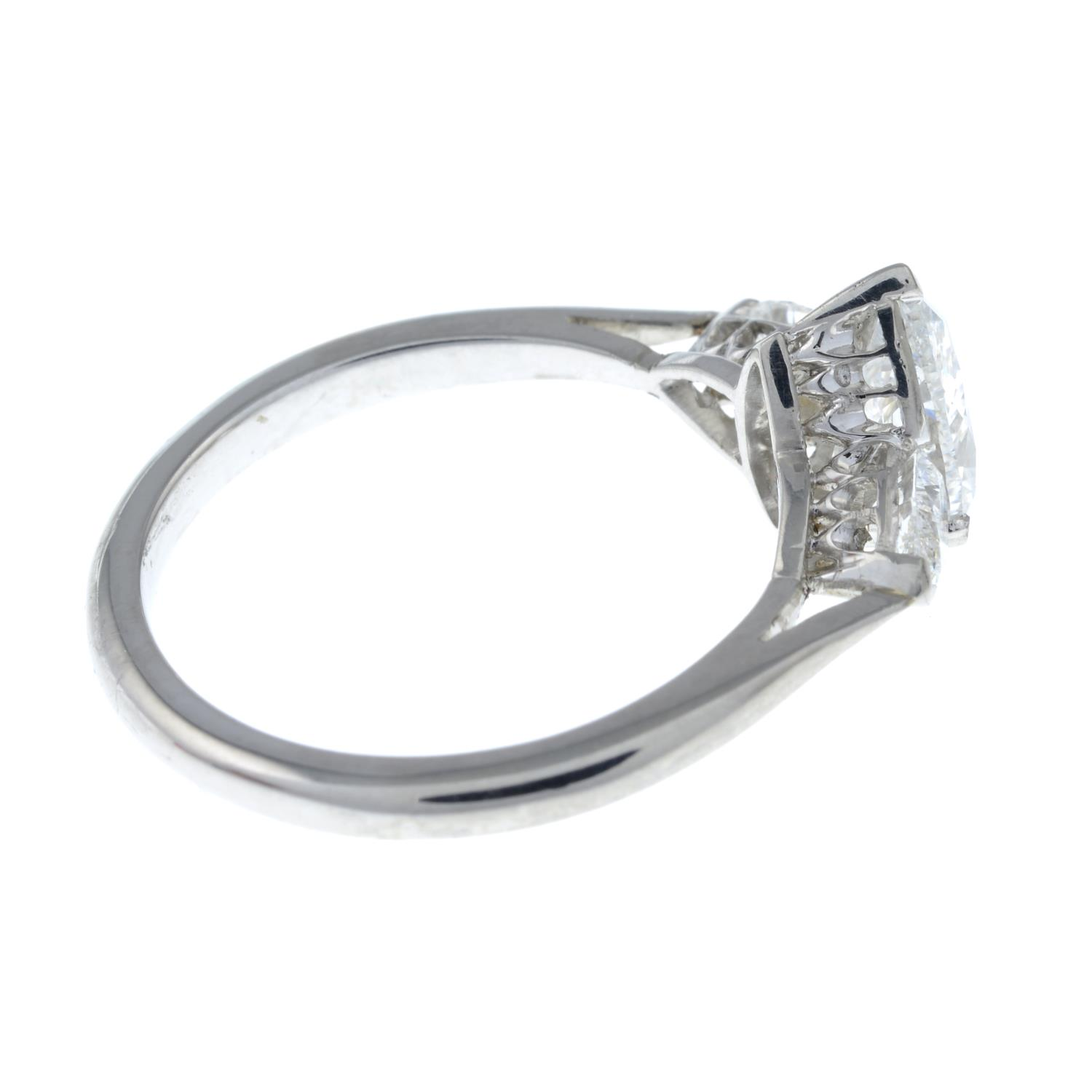 A pear-shape diamond three-stone ring.With report 1146953348, - Image 6 of 7