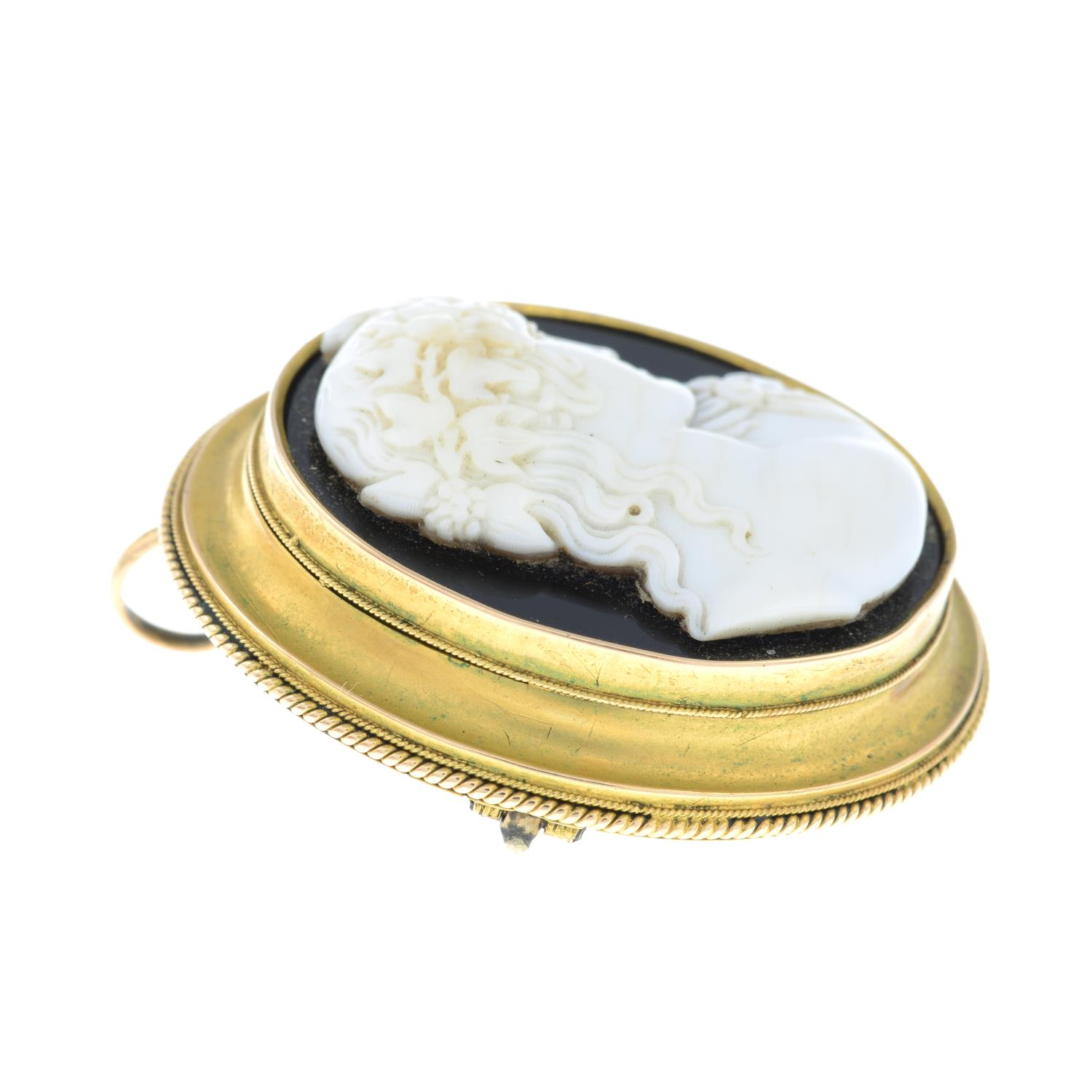 A late Victorian gold onyx and shell cameo brooch, depicting Bacchus. - Image 5 of 5