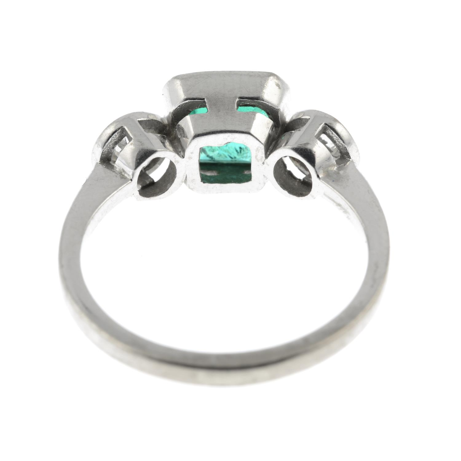 An 18ct gold emerald and old-cut diamond three-stone ring.Emerald calculated weight 1.04cts, - Image 5 of 6