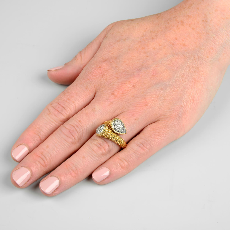 A pavé-set diamond textured crossover dress ring. - Image 3 of 6