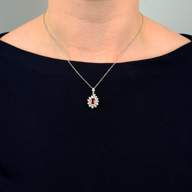 A 'Pigeon's Blood' Burmese ruby and vari-cut diamond cluster pendant, - Image 3 of 6