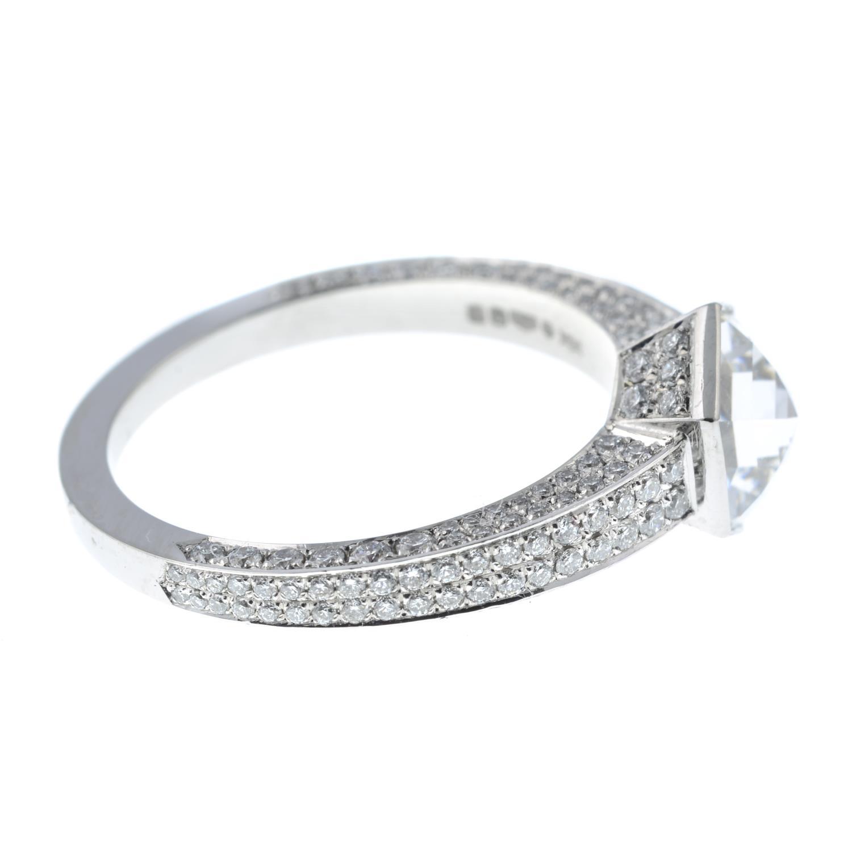 A platinum hexagonal-cut diamond single-stone ring, - Image 6 of 7