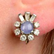 A pair of star sapphire and vari-cut diamond cluster earrings.