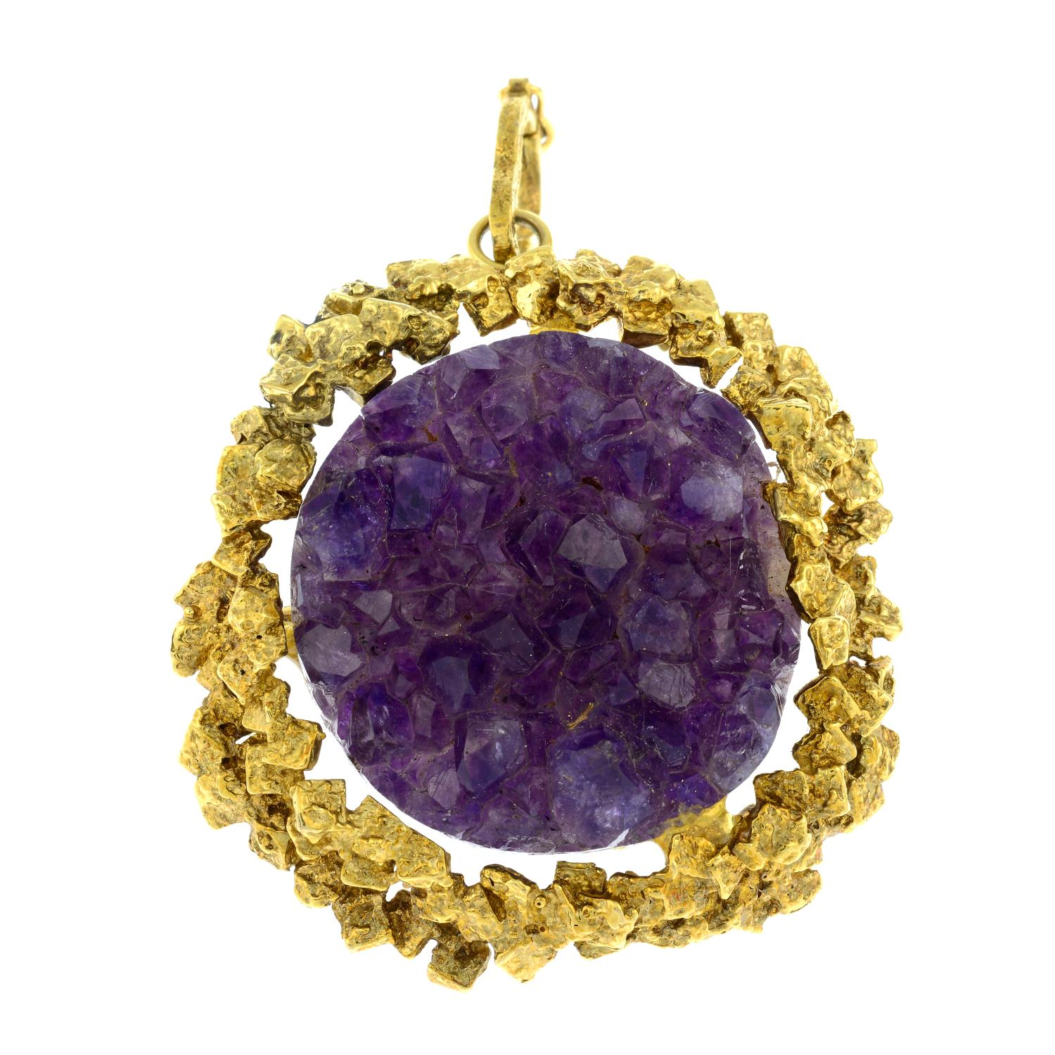 A 1970s gold amethyst druse abstract pendant.Length 7.4cms. - Image 2 of 4