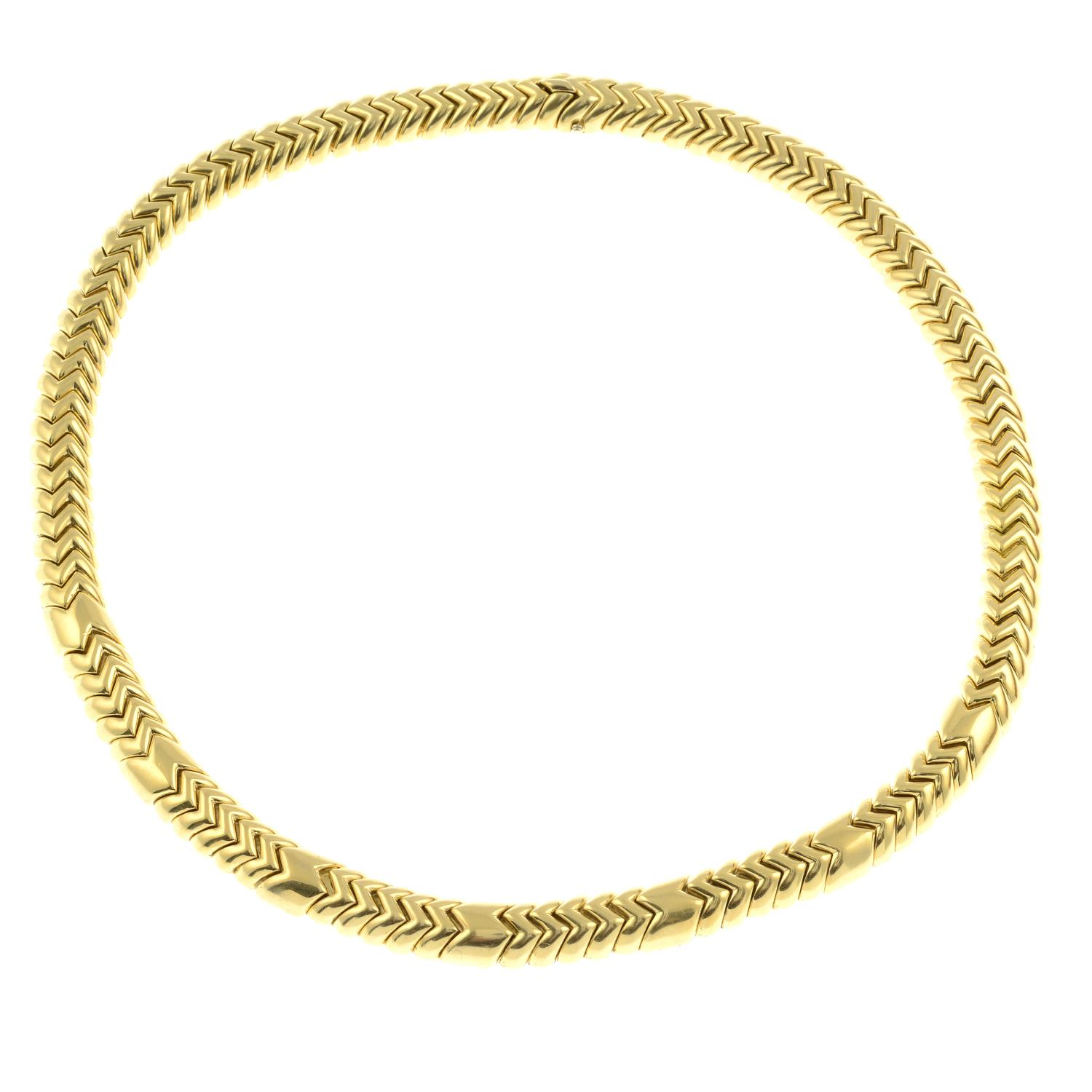 An 18ct gold 'Spiga' necklace, by Bulgari. - Image 4 of 6
