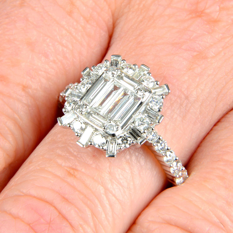 A vari-cut diamond cluster ring.