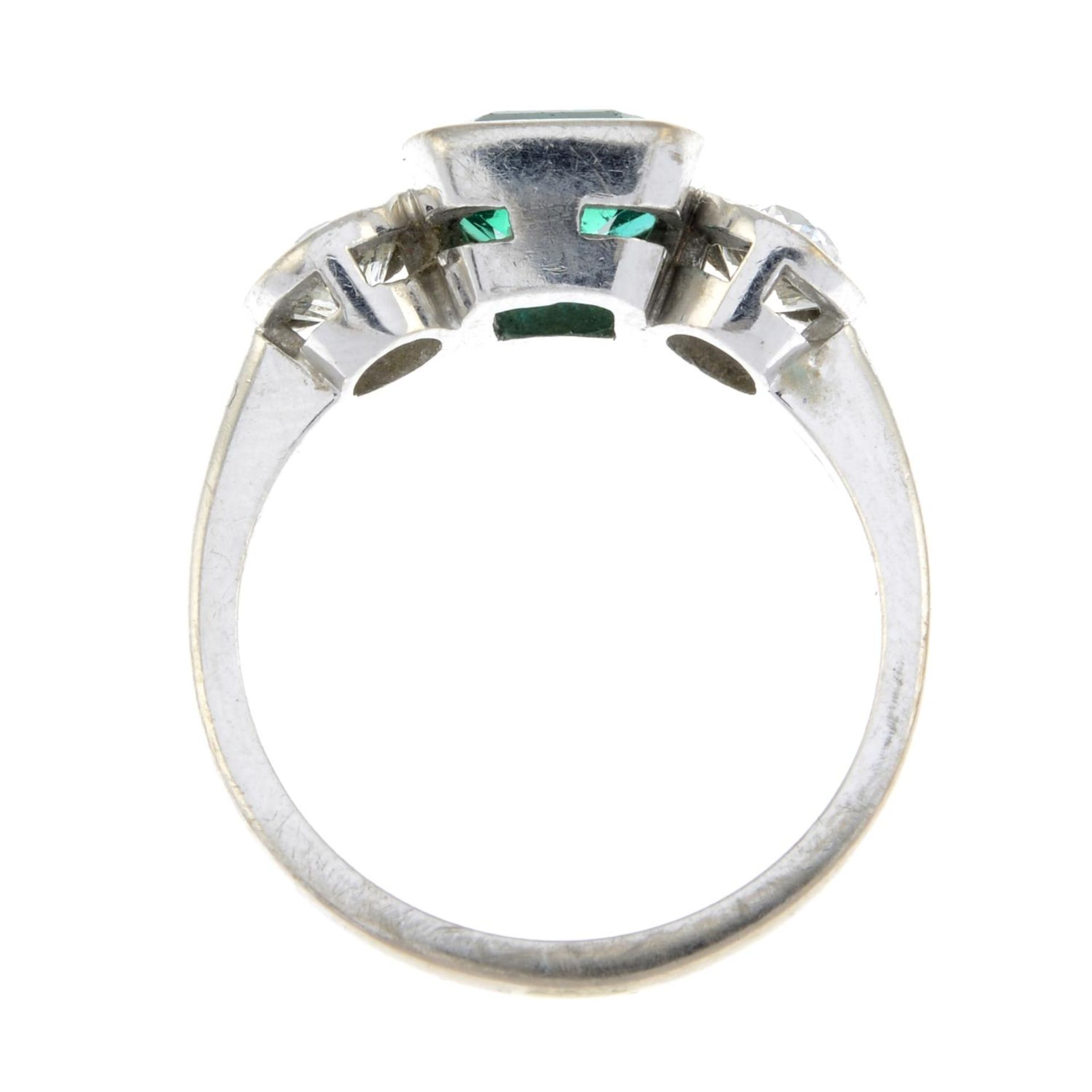 An 18ct gold emerald and old-cut diamond three-stone ring.Emerald calculated weight 1.04cts, - Image 6 of 6