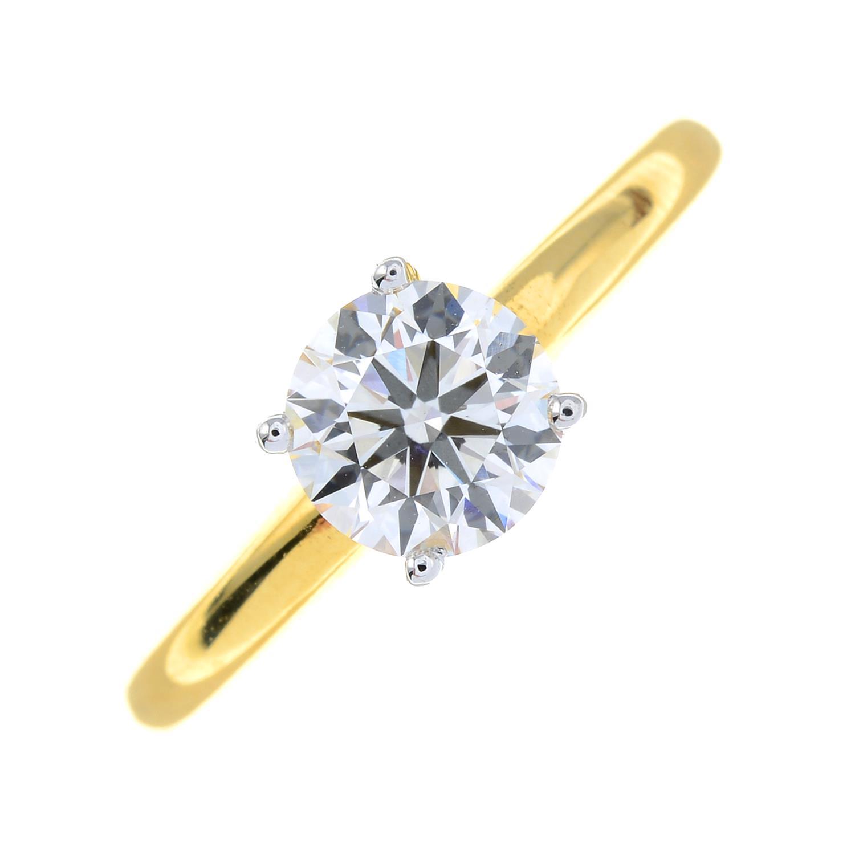 A brilliant-cut diamond single-stone ring.Diamond weight 1.01cts, estimated G+ colour, VS clarity. - Image 2 of 6