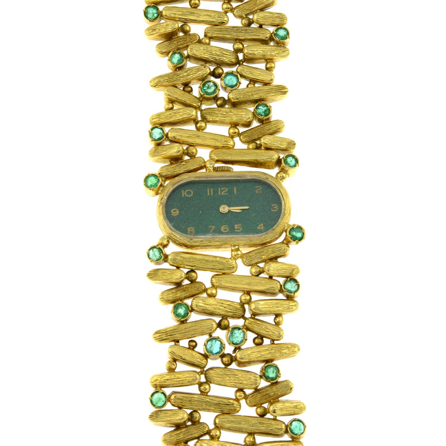A 1970s 18ct gold emerald cocktail watch, with painted green dial.Maker's mark PG. - Image 2 of 4