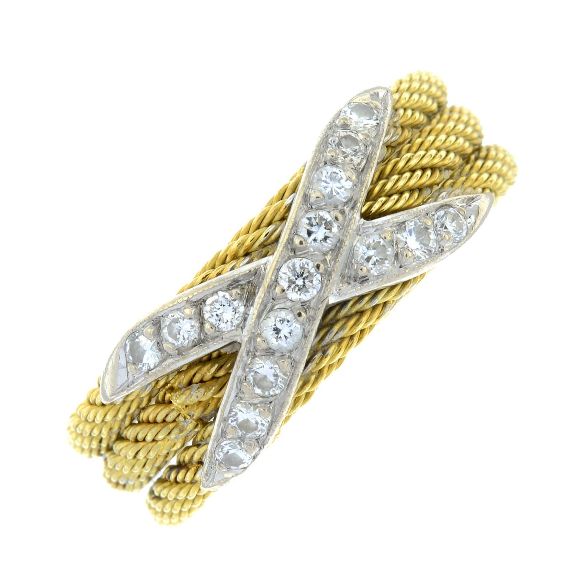 A rope-twist band ring, with pavé-set diamond cross highlight. - Image 2 of 5