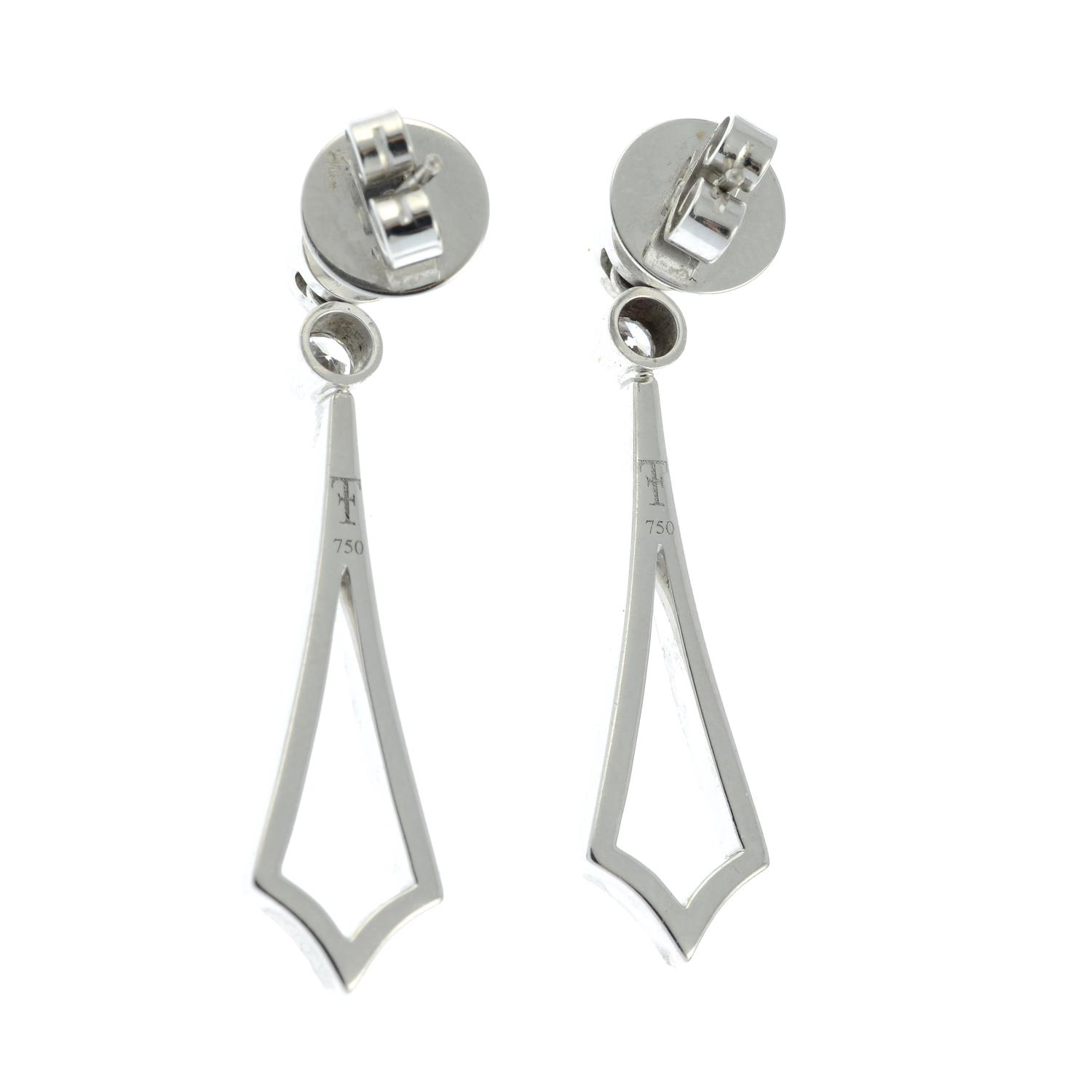 A pair of 18ct gold brilliant-cut diamond earrings, - Image 3 of 3