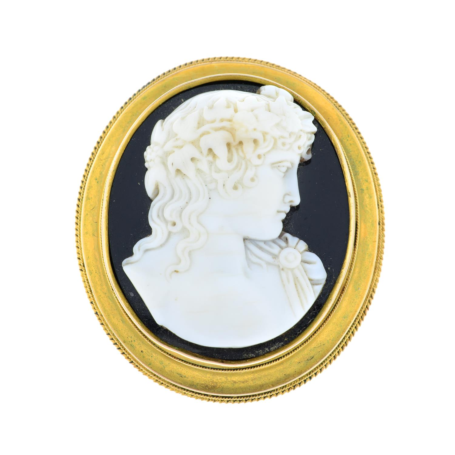 A late Victorian gold onyx and shell cameo brooch, depicting Bacchus. - Image 2 of 5