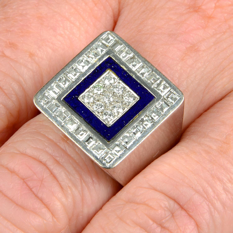 A diamond and lapis lazuli ring,