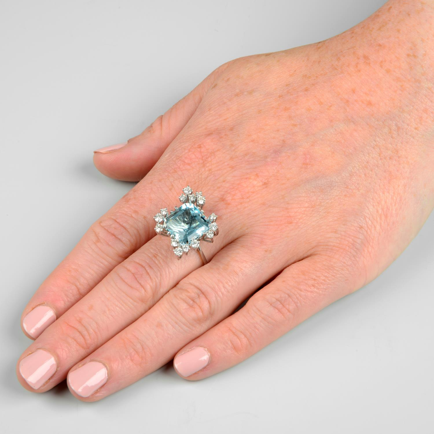 A 1970s 18ct gold aquamarine and diamond cocktail ring.Aquamarine calculated weight 7.20cts, - Image 3 of 6