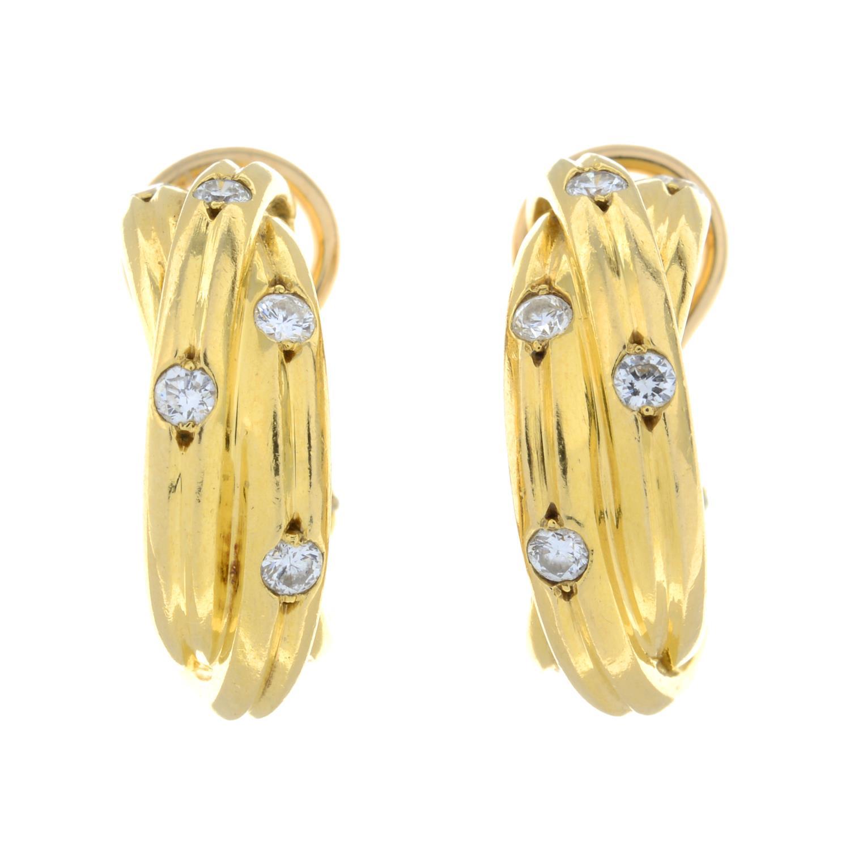 A pair of diamond 'Trinity' hoop earrings, - Image 2 of 4