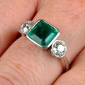 An 18ct gold emerald and old-cut diamond three-stone ring.Emerald calculated weight 1.04cts,
