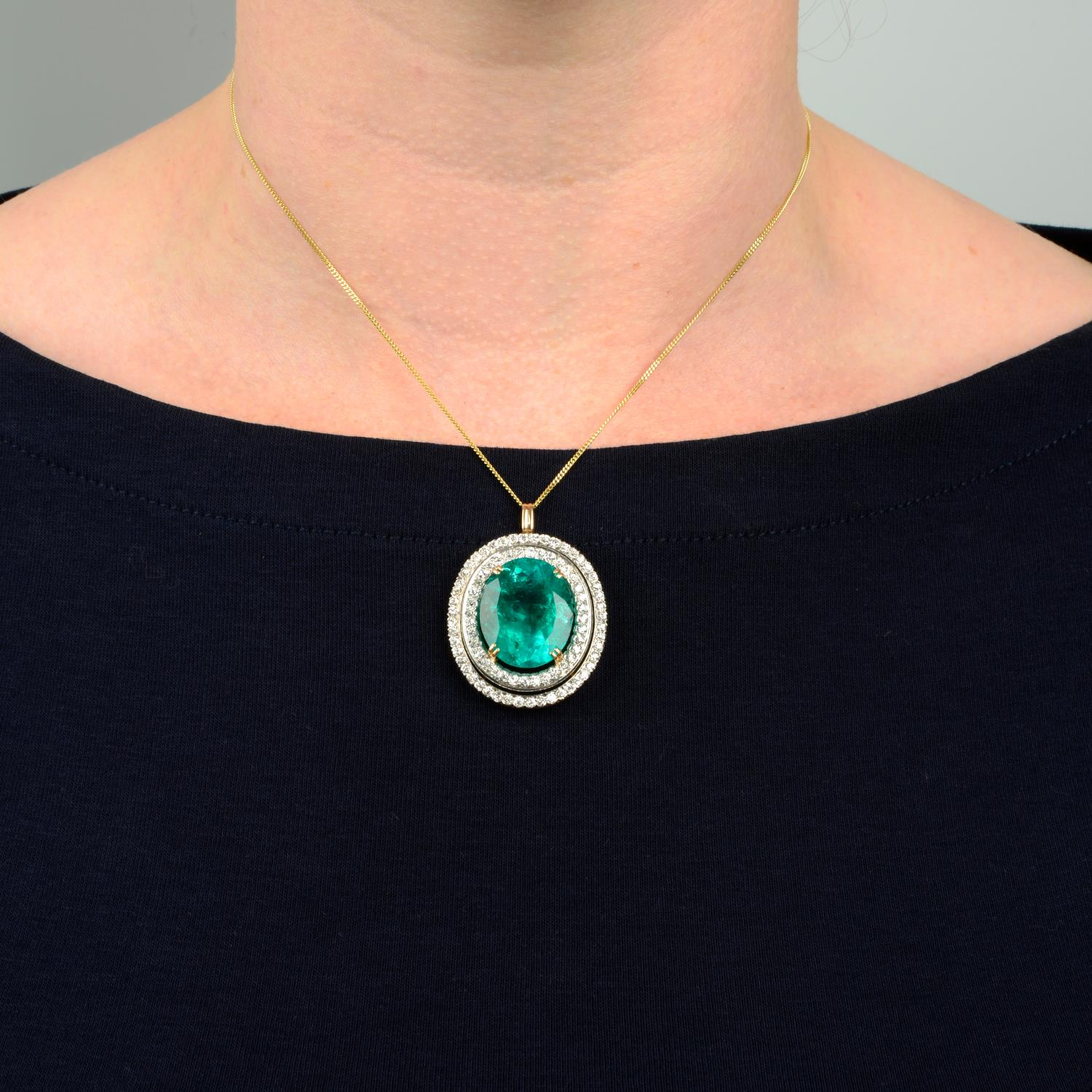 An emerald and circular-cut diamond pendant.With report 17203, - Image 3 of 5