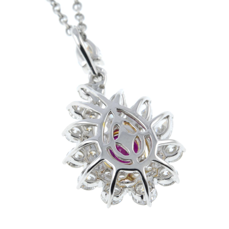 A 'Pigeon's Blood' Burmese ruby and vari-cut diamond cluster pendant, - Image 4 of 6