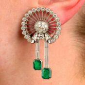 A pair of emerald and vari-cut diamond earrings, by Bulgari.