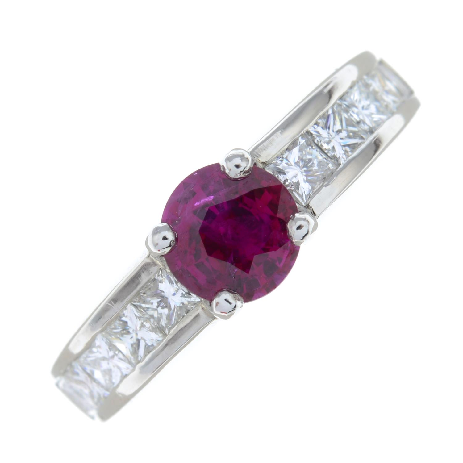 A platinum ruby single-stone ring, with square-shape diamond line shoulders. - Image 2 of 6