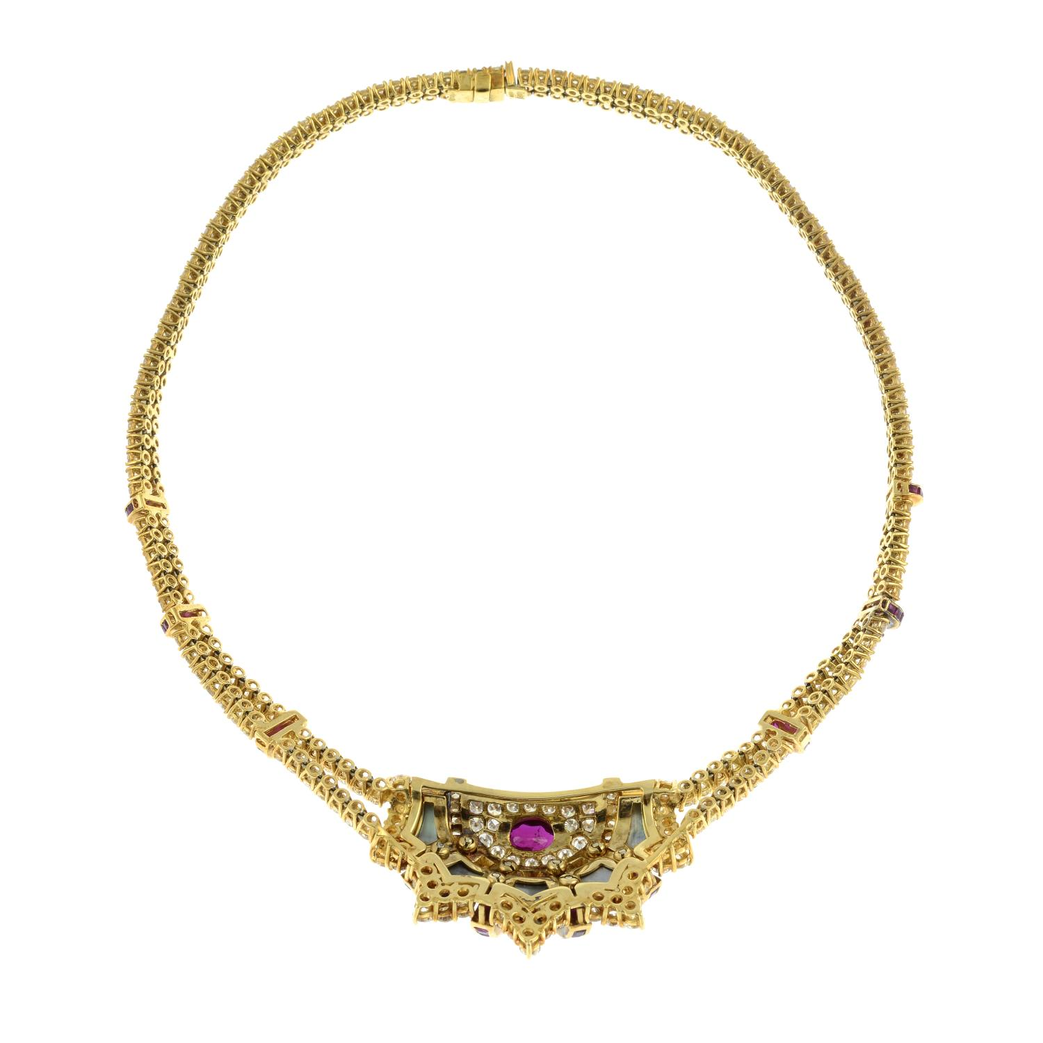 A diamond, ruby and grey mother-of pearl necklace, - Image 9 of 9