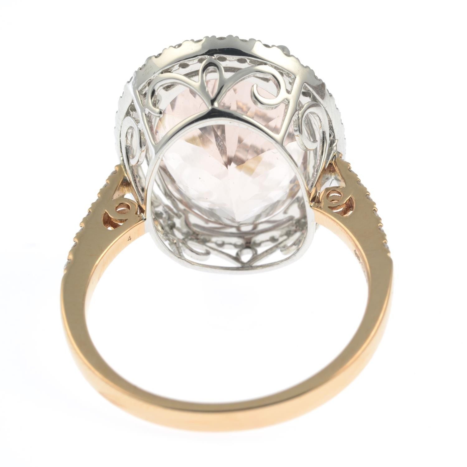 An 18ct gold morganite and diamond cluster ring. - Image 4 of 7