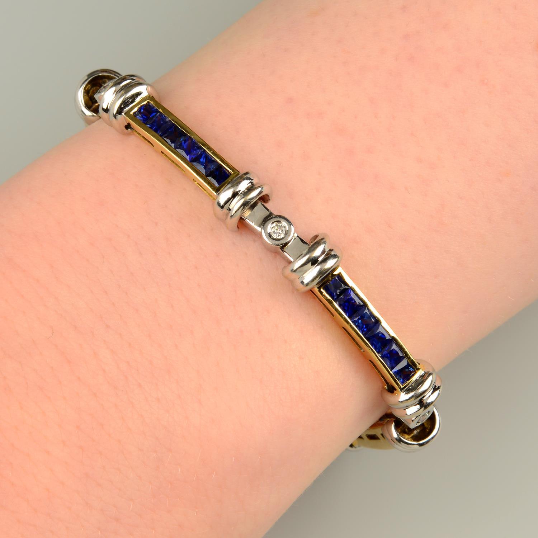 A calibré-cut sapphire bi-colour bracelet,