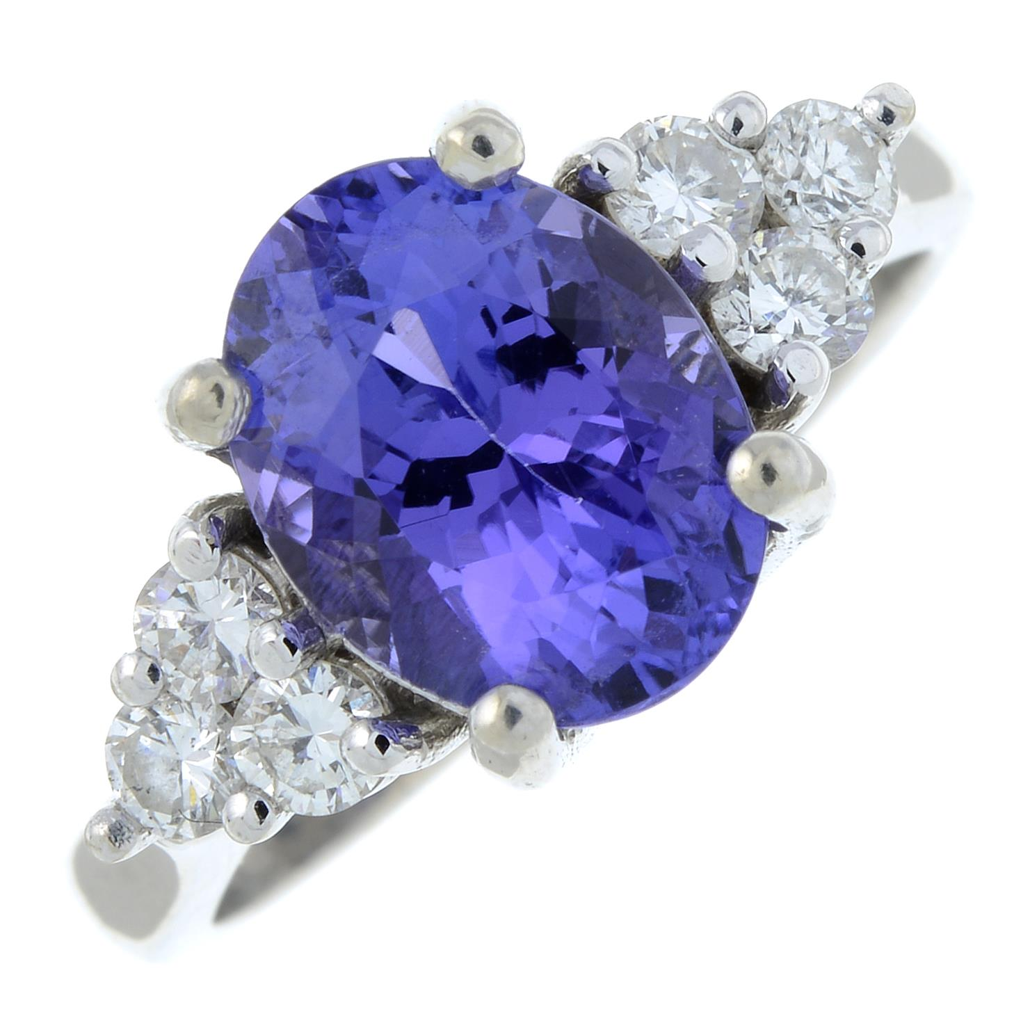 A tanzanite and diamond ring.Tanzanite calculated weight 2.72cts, - Image 2 of 6