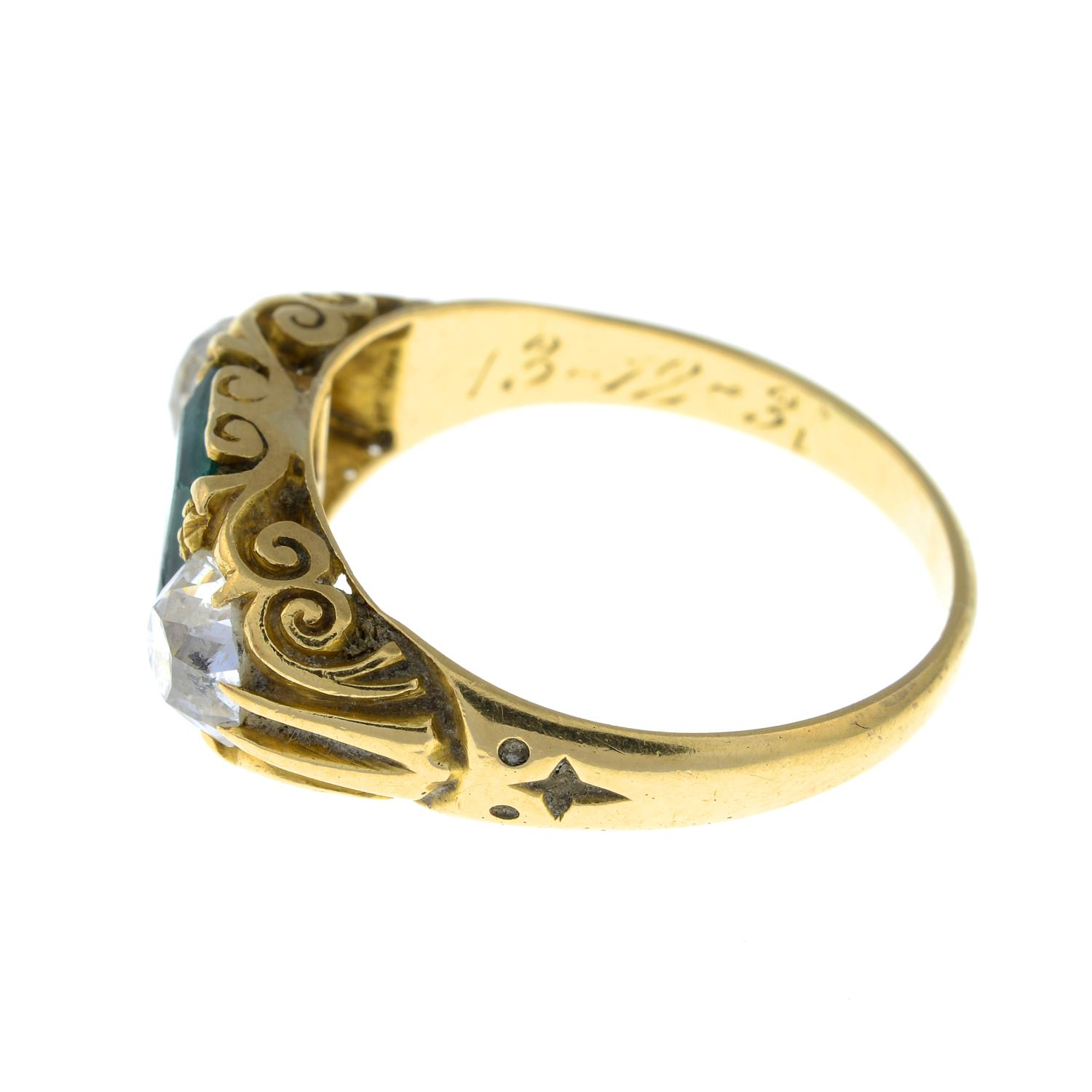 A late Victorian 18ct gold Colombian emerald and old-cut diamond three-stone ring.Verbal from GCS, - Image 5 of 8