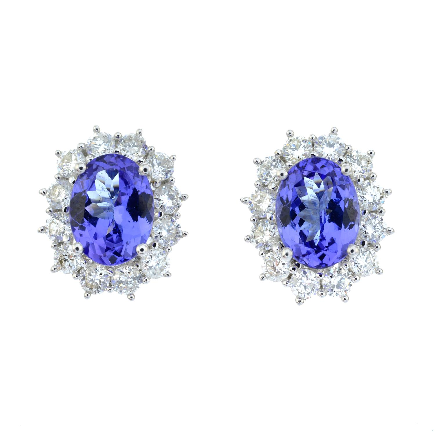 A pair of 18ct gold tanzanite and brilliant-cut diamond cluster earrings.Total tanzanite weight - Image 2 of 3