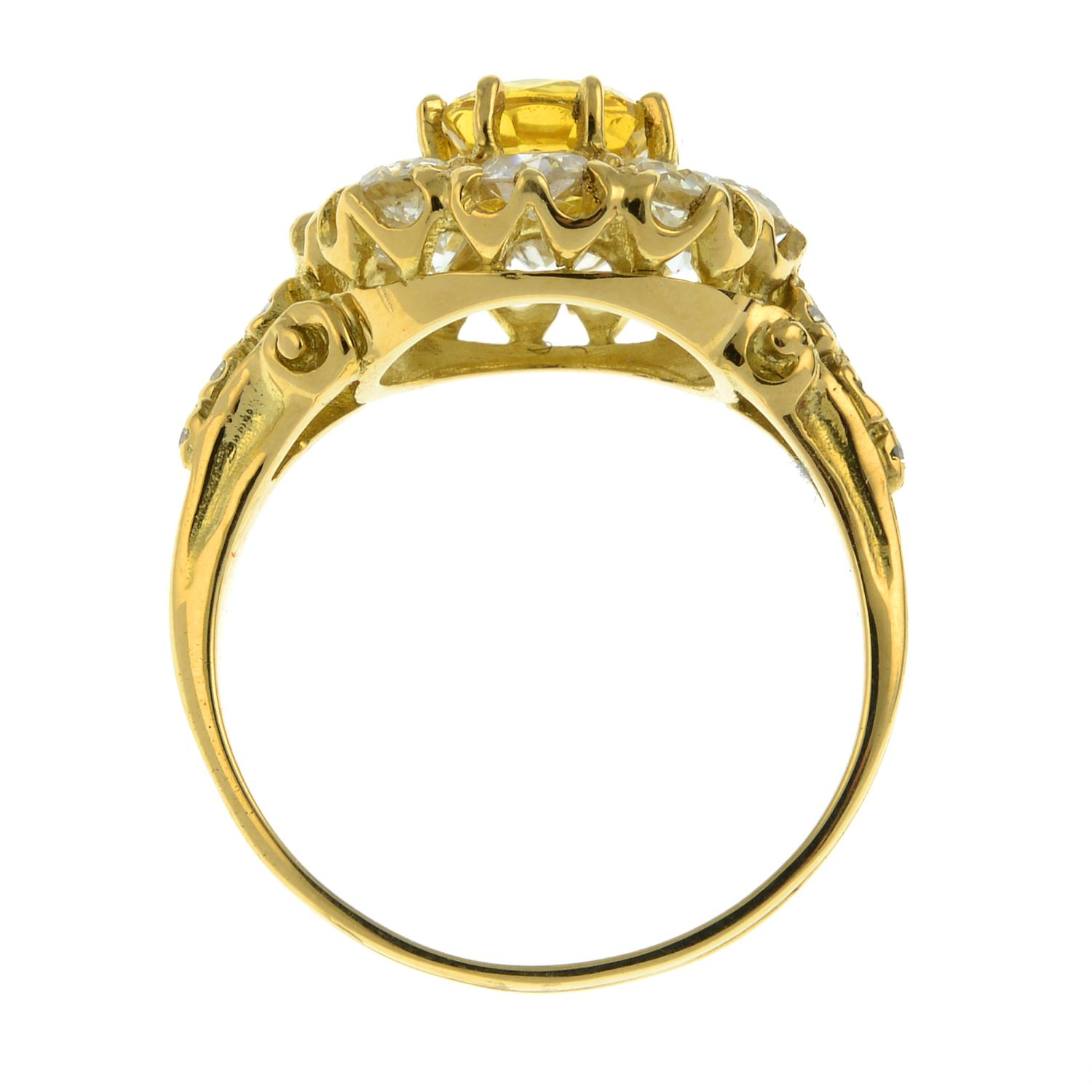 A yellow sapphire and old-cut diamond cluster ring.Sapphire calculated weight 1.05cts, - Image 6 of 6