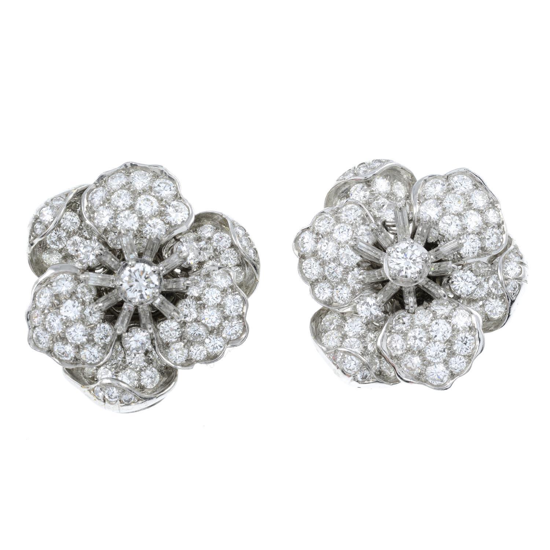 A pair of vari-cut diamond floral earrings, - Image 2 of 3